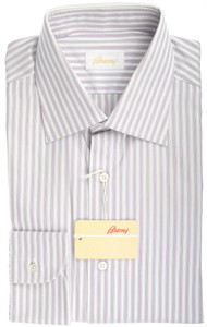 Brioni Dress Shirt Cotton 15 3/4 40 White Gray Pink Stripe 03SH0243
