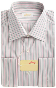 Brioni Dress Shirt Fine Cotton French Cuff 15 3/4 40 White Gray 03SH0239