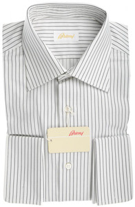 Brioni Dress Shirt Fine Cotton French Cuff 15 38 White Black 03SH0240