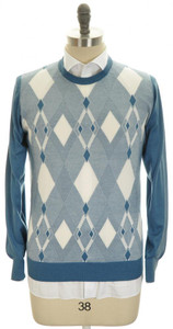 Brioni Sweater Crewneck Extrafine Cashmere Silk 52 Large Blue 03SW0158