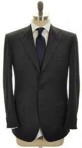 Brioni Suit Chigi Luxury Wool Flat Front 40 50 Navy Blue Stripe