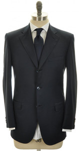 Brioni Sport Coat Jacket 'Chigi' Wool 1/2 Lined 38 48 Blue Solid 03SC0110