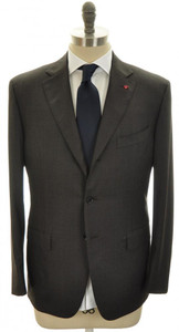 Isaia Napoli Suit 'Gregory' Wool 160s 44 54 Brown Stripe 06SU0113