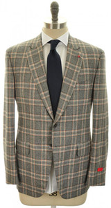 Isaia Napoli Suit 'Gregory' Wool 44 54 Gray Blue Plaid 06SU0117