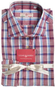 Luciano Barbera Luxury Shirt Cotton Large Burgundy Blue Plaid 48SH0106