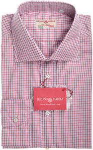 Luciano Barbera Luxury Shirt Cotton Small Red Pink Check 48SH0126