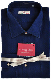 Luciano Barbera Luxury Shirt Linen Small Indigo Blue Polka Dot 48SH0115