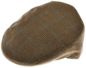 Luciano Barbera Driving Cap Hat Cashmere Size 59 Brown Green Plaid 48CP0105