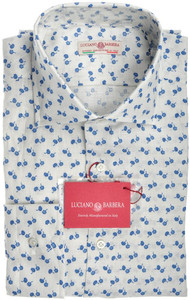 Luciano Barbera Luxury Shirt Linen XLarge White Blue Floral 48SH0123