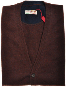 Luciano Barbera Sweater Cardigan Vest Cashmere 50 Medium Brown 48SW0131