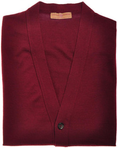 Luciano Barbera Sweater Cardigan Vest Wool 50 Medium Burgundy 48SW0138