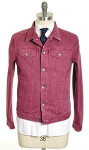 Brunello Cucinelli Denim Jeans Jacket Cotton 52 Large Red 02OT0053