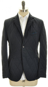 Luciano Barbera Quilted Jacket Coat Cotton Wool 50 Medium Blue 48OT0103