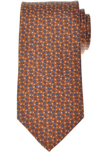 E. Marinella Napoli Tie Silk 58 1/4 x 3 1/2 Brown Blue Geometric 07TI0138