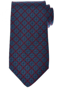 E. Marinella Napoli Tie Silk 58 1/4 x 3 3/4 Blue Red Geometric 07TI0137
