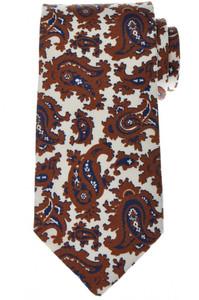 Luigi Borrelli Napoli Tie Silk 59 x 3 3/8 Brown Blue Paisley 05TI0365