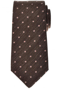 Luigi Borrelli Napoli Tie Silk 59 1/4 x 3 3/8 Brown Red Geometric 05TI0362