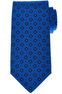 Luigi Borrelli Napoli Tie Silk 59 x 3 3/8 Blue Brown Geometric 05TI0374