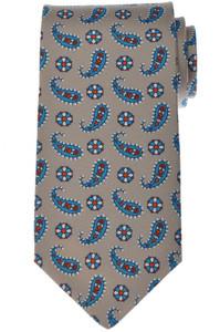 Luigi Borrelli Napoli Tie Silk 57 1/2 x 3 3/8 Gray-Taupe Paisley 05TI0373