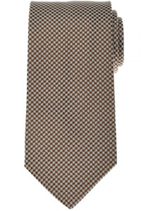 Luigi Borrelli Napoli Tie Silk 58 1/4 x 3 1/4 Brown White Check 05TI0372