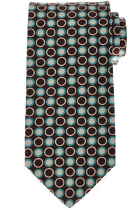 Luigi Borrelli Napoli Tie Silk 58 3/4 x 3 1/4 Brown Blue Geometric 05TI0371