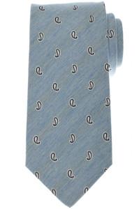 Luigi Borrelli Napoli Tie Silk 58 1/4 x 3 3/8 Blue White Paisley 05TI0381