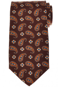 Luigi Borrelli Napoli Tie Silk 59 x 3 3/8 Brown Orange Paisley 05TI0396