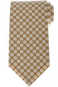 Luigi Borrelli Napoli Tie Silk 57 1/2 x 3 1/4 Brown Geometric 05TI0393