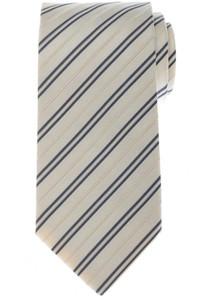 Luigi Borrelli Napoli Tie Silk 58 1/4 x 3 3/8 Ivory Blue Stripe 05TI0408