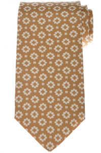 Luigi Borrelli Napoli Tie Silk 58 1/2 x 3 3/8 Brown Geometric 05TI0425