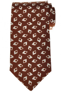 Luigi Borrelli Napoli Tie Silk 59 1/4 x 3 3/8 Brown Geometric 05TI0424