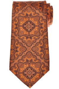 Stefano Ricci Tie Silk 59 1/2 x 3 5/8 Orange Brown Paisley 13TI0477