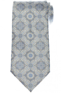 Stefano Ricci Tie Silk 59 1/4 x 3 5/8 Gray Blue Paisley 13TI0475