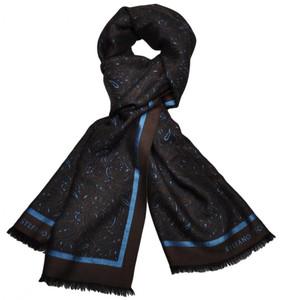"Stefano Ricci Luxury Scarf Cashmere Silk 28"" x 84"" Brown Blue 13SF0103"