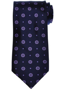 Stefano Ricci Tie Silk 59 x 3 1/2 Navy Blue Purple Geometric 13TI0537