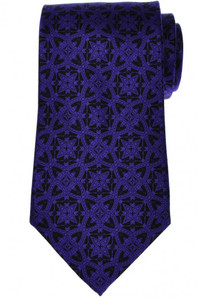 Stefano Ricci Tie Silk 59 x 3 3/4 Purple Black Geometric 13TI0452