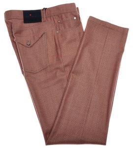 Kiton Luxury 5 Pocket Jeans Wool 33 49 Gray Orange Printed 01JN0305
