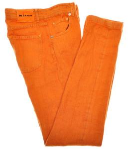 Kiton Luxury 5 Pocket Jeans Selvedge Linen (Trim Fit) 33 49 Orange H-Bone 01JN0311