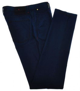Kiton Luxury Jeans Pants 1 Pleat Cotton Stretch 33 49 Blue 01JN0324