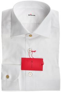 Kiton Luxury Shirt Superfine Cotton Pinpoint 18 1/2 46 White 01SH0354