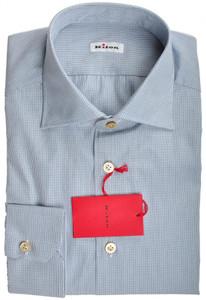 Kiton Luxury Dress Shirt Fine Cotton 15 3/4 40 Blue White Check 01SH0393