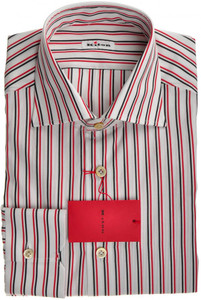 Kiton Luxury Dress Shirt Fine Cotton 15 38 Red Black Stripe