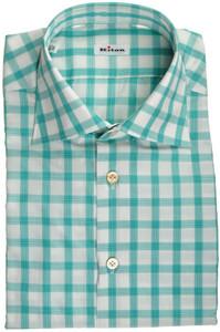 Kiton Luxury Dress Shirt Fine Cotton 15 3/4 40 Green White Plaid 01SH0413