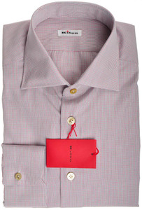 Kiton Luxury Dress Shirt Fine Cotton 15 3/4 40 Blue Red Check