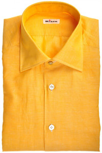 Kiton Luxury Dress Shirt Cotton Linen 15 3/4 40 Yellow 01SH0426
