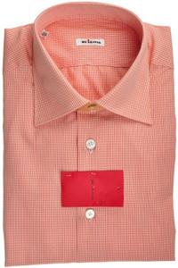 Kiton Luxury Dress Shirt Fine Cotton 15 3/4 40 Orange White 01SH0437