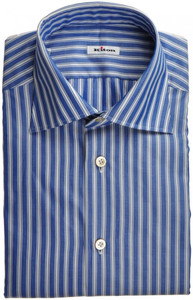 Kiton Luxury Dress Shirt Fine Cotton 15 3/4 40 Blue White Stripe 01SH0468