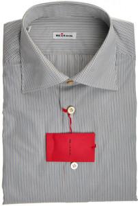 Kiton Luxury Dress Shirt Fine Cotton 15 3/4 40 Blue Brown Stripe 01SH0467