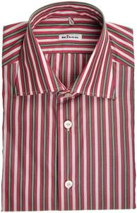 Kiton Luxury Dress Shirt Fine Cotton 15 3/4 40 Red Green Stripe 01SH0466