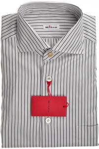 Kiton Luxury Dress Shirt Cotton French Cuff 15 3/4 40 Black White 01SH0464